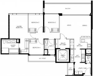 leedon-green-4-bedroom-utility-private-lift-floor-plan-d1-singapore-1024x841